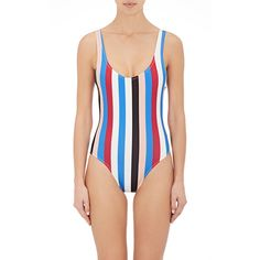 Solid & Striped Women's Anne-Marie Striped One-Piece Swimsuit (1.375 ARS) ❤ liked on Polyvore featuring swimwear, one-piece swimsuits, no color, 1 piece swimsuit, scoop neck bathing suit, low-back one-piece swimsuits, one piece bathing suits and colorful swimsuits