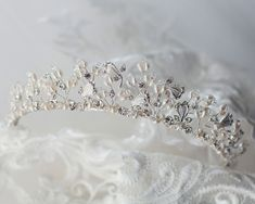 Pearl and Crystal Bridal Tiara - Cassandra Lynne Wedding Tiaras, Swarovski Crystal Beads, Bridal Tiara, Bridal Accessories, Delicate, Ivory, Pearls, Floral, Silver