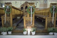 Greek Wedding, Wedding Story, Wedding Ideas, Pew Markers, Wedding Ceremony, Reception, Weeding, Flower Decorations, Altar