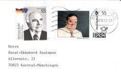 Original postalisch gelaufener Brief mit meiner eigenen Briefmarke (rechts)