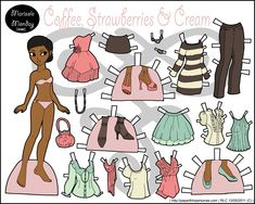 Full color modern paper doll with a bunch of different clothing pieces. She's free, of course, to print.
