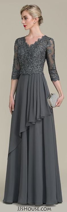 A-Line/Princess V-neck Floor-Length Chiffon Lace Mother of the Bride Dress With Beading Sequins Cascading Ruffles - Mother of the Bride Dresses - JJsHouse Mother Of Groom Dresses, Bride Groom Dress, Mothers Dresses, Mother Of The Bride, Mob Dresses, Trendy Dresses, Elegant Dresses, Fashion Dresses, Dresses With Sleeves
