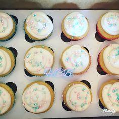 Gender reveal cupcakes. Pink buttercream filling.