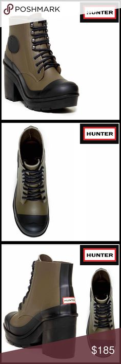 """⭐️⭐️ HUNTER Original Waterproof Heeled Boots HUNTER Original Waterproof Heeled Boots 💟NEW WITH TAGS💟 RETAIL PRICE: $230   * Lace-up vamp; Waterproof construction   * Round cap toe, lightly padded insole, molded & logo details   * Rubber platform lug sole  * Approx 4.5"""" high shaft & 1"""" platform, 4"""" high chunky heels  * True to size; Approx 10.5"""" opening construction  MATERIAL: Rubber upper & sole, fabric lining COLOR: Military Olive, Black   ITEM # Combat rain  🚫No Trades🚫 ✅ Offers…"""