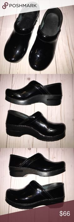 EUC Dansko Stapled patent 38 nursing clog black 8 EUC  a few creases and scuffs but nothing major Dansko Shoes Mules & Clogs