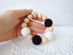 Black White Teething bracelet Crochet bracelet Eco от ColoredYarn