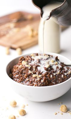 Nutella Brownie Oatmeal - Cafe Delites