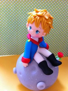 *SORRY, no information as to product used ~ le petit prince Polymer Clay Figures, Polymer Clay Dolls, Polymer Clay Projects, Clay Crafts, Little Prince Party, The Little Prince, Prince Cake, Cake Decorating With Fondant, Cute Clay