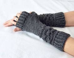 Cable Knit Merino Wool Viking Arm Warmers Fingerless Mittens