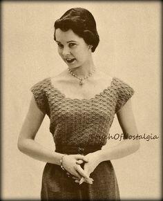 Crochet Lacy EVENING BLOUSE Crochet Pattern LACE Elegance Evening Blouse Top Sweater -  Plunge Round Neck / Off-Shoulder / Elegant Evenings