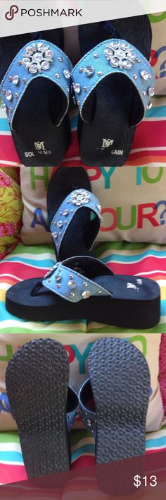 Shoes Precious pair of bling encrusted denim thong style sandals. 1 3/4 wedge heel. Very comfortable, and in great condition. All stones in place. Shoes Sandals