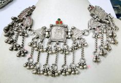 Vintage antique ethnic tribal old silver Necklace jewelry - 7350