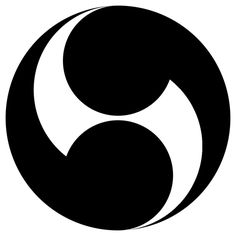 Two-fold Tomoe. Japanese Emblem.  A Tomoe is an abstract shape described as a swirl that resembles a comma, that can be doubled, as here, tripled, etc.. The origin is uncertain and its history is complex and use varied in Japan. Like many basic symbols it is not unique to one culture.