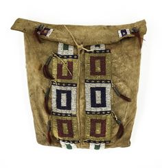 Lakota (Sioux) buffalo hide possible bag  |  Early seed beads, likely from matching tepee bags  |  Sinew sewn  |  c. 1850-60s  |  Minor stabilization on bag  Chipeta Trading Company  |  Historic Native American Art