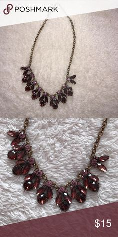 Statement necklace Cute statement necklace with pink and burgundy stones. Worn once. Originally from Francesca's. Jewelry Necklaces