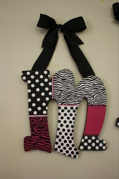 """Hand Painted Wooden Wall Letters - """"Madyson"""" - Zebra Stripes and Polka Dots"""