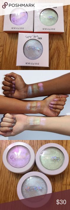 Colourpop L.E. holographic highlighters 3 LIMITED EDITION holographic highlighters! New, only swatched, comes in original boxes. Perilune: green, Honeymoon: blue, Over the Moon: pink/purple. So pretty! NO TRADES. Selling because I can't return them to Colourpop and didn't love them on my skin. Colourpop Makeup Luminizer