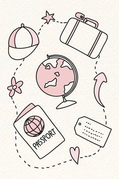 Hand drawn travel element vector set | free image by rawpixel.com / marinemynt Easy Doodles Drawings, Cute Easy Drawings, Mini Drawings, Simple Doodles, Cute Doodle Art, Doodle Art Designs, Doodle Art Drawing, Bullet Journal Books, Bullet Journal Ideas Pages