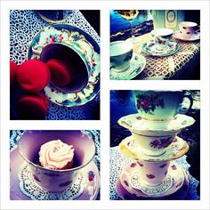 Our vintage tea cups are STUNNING.. and available for hire for your upcoming KItchen Tea, Wedding or SOIREE