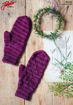 91411. HJÄRTERUM Vantar Wrist Warmers, Mittens, Magenta, Gloves, Knitting, Pattern, Knits, Uruguay, Threading