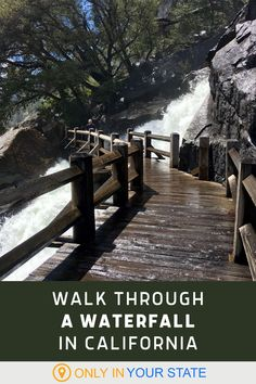 This beautiful, easy hiking trail in Northern California allows you to walk through a waterfall. A small bridge crosses it and, while it's a unique adventure, you will get wet. It's refreshing! California Homes, Northern California, Yosemite National Park, National Parks, Places To Travel, Travel Destinations, Small Bridge, Famous Beaches, Waterfall Hikes