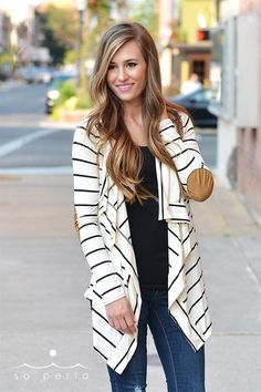 Classic Striped Cardigan with Elbow Patch for Fall - so comfy & a staple | $22.99 on Jane.com