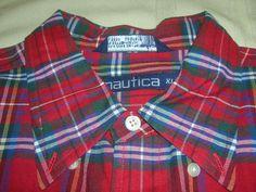 "Men's Button Down Shirt Nautica Plaid Dress Long Sleeve Size XL 56"" Chest #Nautica"