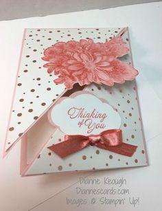 Heartfelt Blooms stamp set, Diagonal fold, Springtime Foils DSP, Pretty Label Punch, Stampin' Up!, Diannescardscom