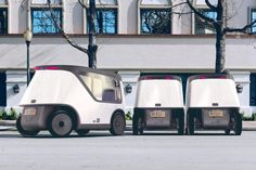 Biomega founder Jens Martin Skibsted has created NemBot, a concept for convoys of electric driverless vehicles to transport goods and patients around cities in isolation pods. Medical Robots, Electric Car Concept, Cv Online, Resume Builder, Bicycle Brands, Road Train, Rear Wheel Drive, Cabin Design, Bus Stop