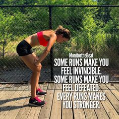 runs make you feel invincible. Some runs make you feel defeated. Every run makes you stronger.Some runs make you feel invincible. Some runs make you feel defeated. Every run makes you stronger. Fitness Humor, Fitness Workouts, Sport Fitness, Running Workouts, Running Tips, Running Track, Keep Running, Track Quotes, Running Quotes