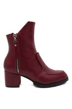 Zipped Side Cool Burgundy Boots $36.99
