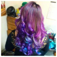 Brown purple and blue Artic Fox Hair, Oil Slick Hair, Galaxy Hair, Unicorn Hair, Purple Hair, Hair Designs, Cute Hairstyles, Dyed Hair, Hair And Nails