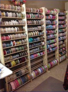 Sewing Room Storage, Sewing Room Organization, Craft Room Storage, Craft Rooms, Organizing, Craft Ribbon Storage, Storage Shelves, Storage Ideas, Storage Rack