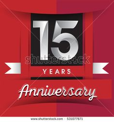 15 years anniversary logo with white ribbon isolated on red background, flat design style, Vector template elements for birthday celebration