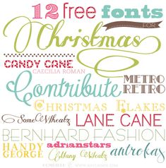 12 #free #fonts for Christmas | Candy Cane, Caecilia Roman, Contribute, Metro Retro, Christmas Flakes, Some Weatz, Lane Cane, Bernhard Fashion, Handy George, Adrianstars, Antrokas, Many Weatz
