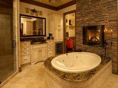 Bathroom: stacked stone fireplace & cab colors(ivory base/black mirror)