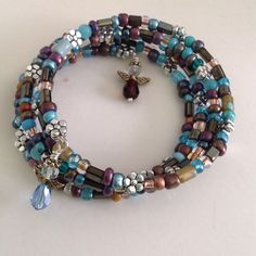 Four Layered Memory Wire Bracelet Multicolored by BohoGemBoutique, $29.00