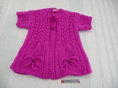 Veste manches courtes, - T.6/8 ans -Rose Pétunia - tricot fait main