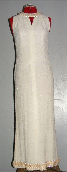 Early Neymar Couture Vintage Dress Silk Crepe Tiny Glass White Beads Swarvoski