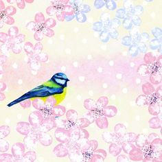 Jane Heyes - Blue bird Birthday everyday spring vintage pattern.psd
