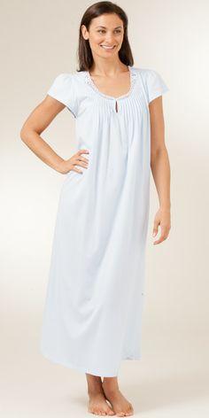 Cap Sleeve Carole Hochman Cotton Knit Nightgown - Soft Blue or Moonlit Garden