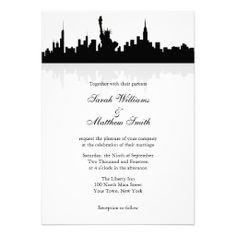 Shop Reception Only New York Skyline Wedding Invitation created by PMCustomWeddings. Wedding Reception Invitations, Elegant Wedding Invitations, Wedding Venues, New York Wedding, Post Wedding, Wedding Ideas, Wedding Fun, Fall Wedding, Wedding Stuff