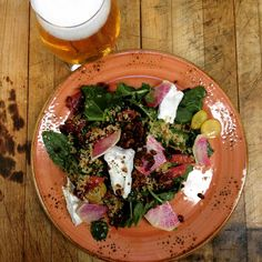 """@doc_ponds """"A little something good for you after a night of not-so-good for you. Spinach Salad with goat cheese, cress, and pecans."""""""