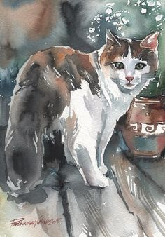 Calico CAT Original Watercolor Painting Three Colored CAT ART Artwork Picture | eBay