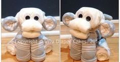 Blue monkey diaper cake animal for boy baby shower. Unlike some diaper animals… | Cadeautjes van luiers, washandjes ed | Pinterest | Diaper Animals, Monkey Dia…