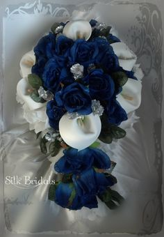 like blue in center, needs brooch, white roses.  Bridal Bouquet Silk Wedding Flowers Royal Blue White silver CALLA Roses