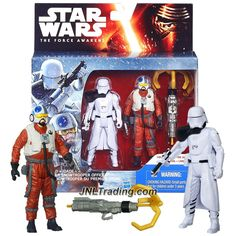 Star Wars: The Force Awakens Inch 2 Pack Snap Wexley and First Order Snowtrooper Officer Figurines D'action, Star Wars Episoden, Star Wars Toys, Star Wars Collection, Jouet Star Wars, Figurine Star Wars, X Wing Fighter, Fighter Pilot, Star Wars Merchandise