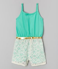 Look at this Mint Crochet Belted Romper - Girls on #zulily today!