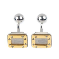A pair of stainless steel Cartier cufflinks