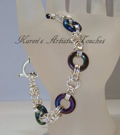Chunky Silver Rainbow Glass Byzantine Chain by ArtisticTouches, $40.00